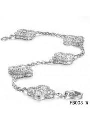 Van Cleef & Arpels Vintage Alhambra Bracelet White Gold with 5 Diamond Motifs