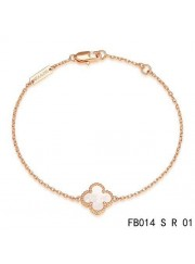 Van Cleef & Arpels Sweet Alhambra Clover Bracelet in Pink Gold,White Mothe-of-parl
