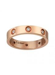 cartier love pink Gold ring eight diamond narrow version replica