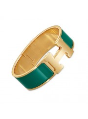 Hermes Clic Clac H bracelet yellow gold wide blue green enamel replica