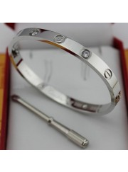 cartier love bracelet white gold plated real with 4 Diamonds replica