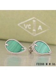Van Cleef & Arpels White Gold Sweet Alhambra Leaf Earrings Malachite
