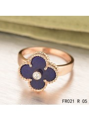 Van Cleef & Arpels Pink Gold Vintage Alhambra Ring Lapis lazuli with Diamond