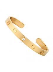 cartier cuff bracelet plated real 18k yellow gold with one diamond replica