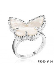 Van Cleef & Arpels Lucky Alhambra Butterfly Ring White Gold with White Mother-of-pearl