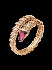 Bvlgari Serpenti Bracelet pink gold with rubellite head with diamonds BR856126 replica