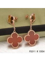 Van Cleef & Arpels Pink Gold Magic Alhambra 2 Stone Combinatio Motifs Earclips