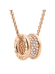 Bvlgari B.ZERO1 necklace pink gold paved with diamonds pendant CL856300 replica