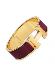 Hermes Clic Clac H bracelet yellow gold wide China red enamel replica