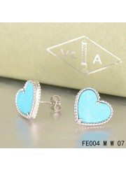 Van Cleef and Arpels Sweet Alhambra Heart Earstuds White Gold Turquoise