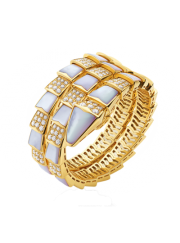 Bvlgari Serpenti Bracelet yellow gold with mother of pearl and diamonds BR855296 replica