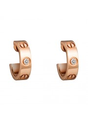 cartier love pink Gold earring inlaid with two diamonds replica