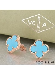 Van Cleef Arpels Pink Gold Vintage Alhambra Turquoise Clover Earstuds