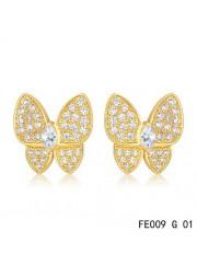 Van Cleef & Arpels Yellow Gold Flying Beauties Two Butterfly Diamond Earrings