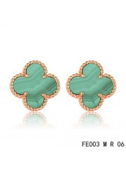 Van Cleef Arpels Pink Gold Vintage Alhambra Malachite Clover Earstuds