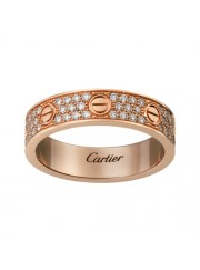 cartier love pink Gold covered diamond ring narrow version replica
