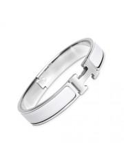 Hermes clic H bracelet white gold narrow white enamel replica