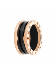 Bvlgari B.ZERO1 ring pink gold 3 band with black ceramic AN855962 replica