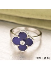 Van Cleef & Arpels White Gold Vintage Alhambra Ring Lapis lazuli with Diamond