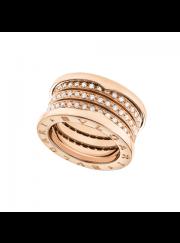 Bvlgari B.ZERO1 ring pink gold 4 band paved with diamonds AN857022 replica