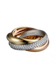 trinity de Cartier 3-gold ring covered diamond medium models B4038900 replica