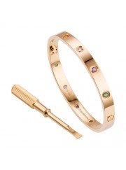 cartier love bracelet pink gold plated real sapphire pomegranate stone amethyst replica