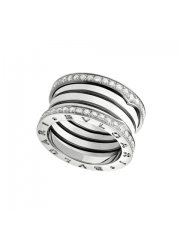Bvlgari B.ZERO1 ring white gold 4 band with pave diamonds AN857023 replica