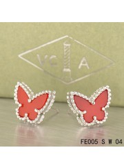 Van Cleef & Arpels Sweet Alhambra Carnelian Butterfly Earstuds White Gold