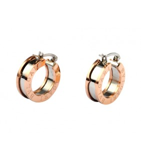 Replica Bvlgari B.ZERO1 Hoop Earrings in Pink Gold and Steel
