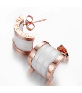 Replica Bvlgari B.ZERO 1 Earrings in Pink Gold With White Cerami