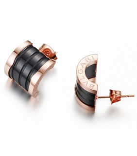 Replica Bvlgari B.ZERO 1 Earrings in Pink Gold With Black Cerami