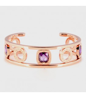 Bulgari Bulgari Cuff Bracelet in Pink Gold with Swarovski Crysta