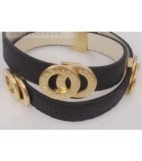 Bulgari Bvlgari Bracelet in Yellow Gold with Black Leather
