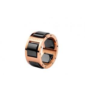 Bvlgari Black Ceramic Ring in 18kt Pink Gold