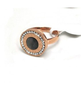 Bvlgari Ring in 18kt Pink Gold with Black Onyx and Pave Diamonds