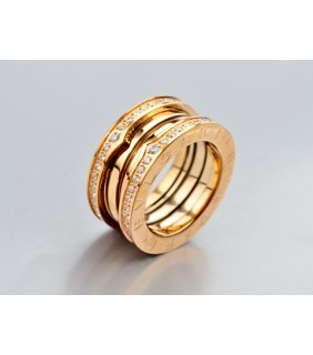 Bvlgari 3-Brand B.zero1 Ring in 18kt 18kt Pink Gold with Pave Di