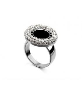 Bvlgari Ring in 18kt 18kt White Gold with Black Onyx & Pave Diam