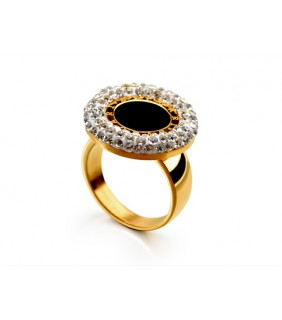 Bvlgari Ring in 18kt 18kt Yellow Gold with Black Onyx & Pave Dia