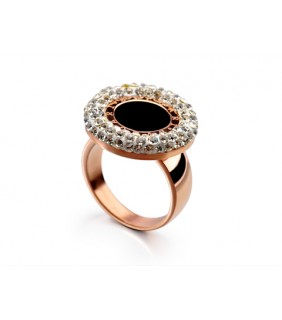 Bvlgari Ring in 18kt 18kt Pink Gold with Black Onyx & Pave Diamo