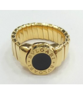 Bulgari Tubogas Ring in 18kt Pink Gold with Black Onyx