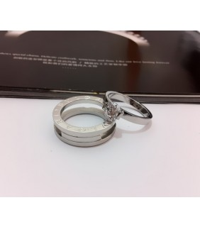 Bvlgari B.zero1 Wedding Band Ring in 18kt White Gold with Pave D