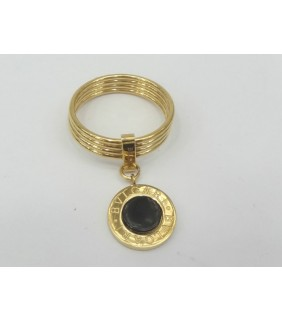 Bvlgari 4-Band Ring in 18kt Yellow Gold with Black Onyx
