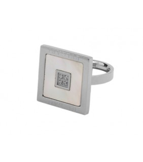 Bvlgari Square Ring in 18kt White Gold with Mother of Pearl and