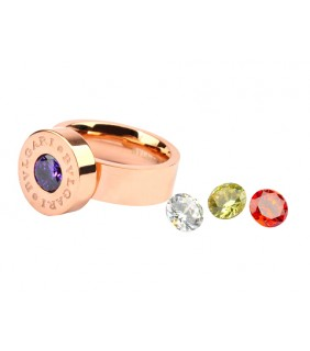Bvlgari Ring in 18kt Pink Gold with Colored CZ Stone
