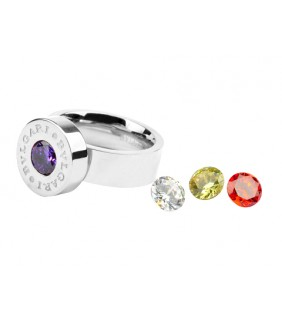 Bvlgari Ring in 18kt White Gold with Colored CZ Stone