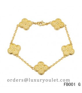 Van Cleef and Arpels Yellow Gold Vintage Alhambra Bracelet 5 Motifs