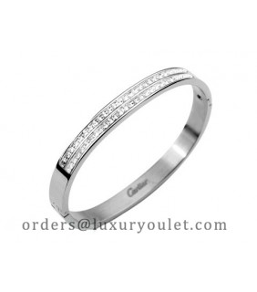 Cartier Bangle in 18kt White Gold with Pave Diamonds