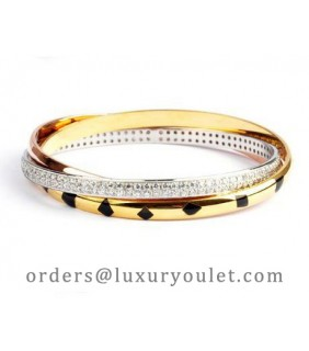 Cartier Trinity 3-Gold Bracelet, Lacquer, Diamonds