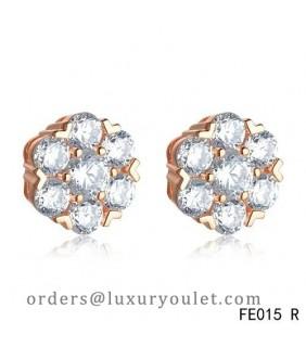 Van Cleef & Arpels Pink Gold Fleurette Diamonds Earstuds