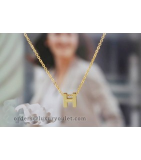 Hermes H Logo Charm Necklace in 18k Yellow Gold